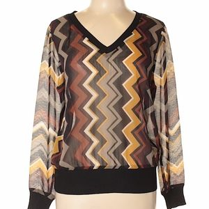 Missoni for Target Chevron Brown Long Sleeve Top